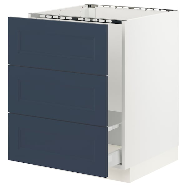 SEKTION / MAXIMERA Base cab f sink/waste sort/3 fronts, white Axstad/matte blue, 24x24x30 ""