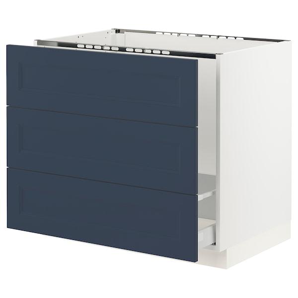 "SEKTION / MAXIMERA Base cab f sink/waste sort/3 fronts, white Axstad/matte blue, 36x24x30 """