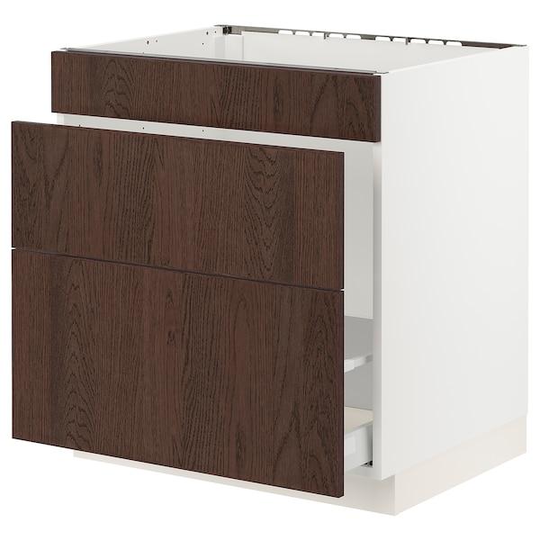 "SEKTION / MAXIMERA Base cab f sink/waste sort/3 fronts, white/Sinarp brown, 30x24x30 """