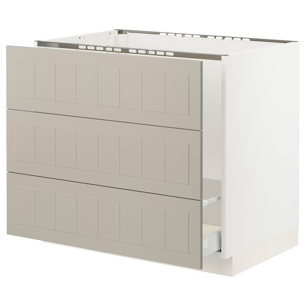 """SEKTION / MAXIMERA Base cab f sink/waste sort/3 fronts, white/Stensund beige, 36x24x30 """""""