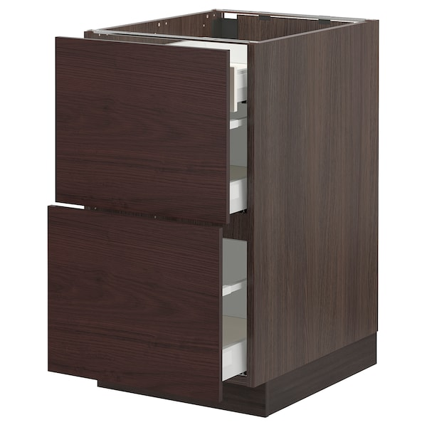 SEKTION / MAXIMERA Base cab with 2 fronts/3 drawers, brown Askersund/dark brown ash effect, 18x24x30 ""
