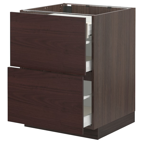 SEKTION / MAXIMERA Base cab with 2 fronts/3 drawers, brown Askersund/dark brown ash effect, 24x24x30 ""