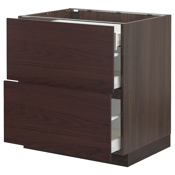 SEKTION / MAXIMERA Base cab with 2 fronts/3 drawers, brown Askersund/dark brown ash effect, 30x24x30 ""