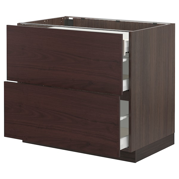 """SEKTION / MAXIMERA Base cab with 2 fronts/3 drawers, brown Askersund/dark brown ash effect, 36x24x30 """""""
