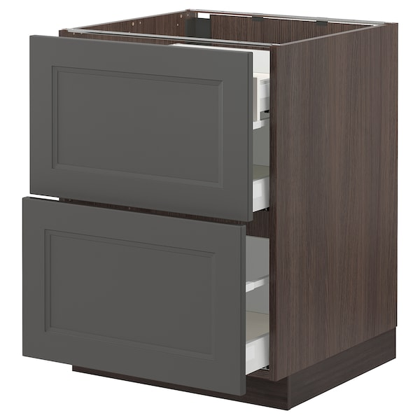 """SEKTION / MAXIMERA Base cab with 2 fronts/3 drawers, brown/Axstad dark gray, 24x24x30 """""""