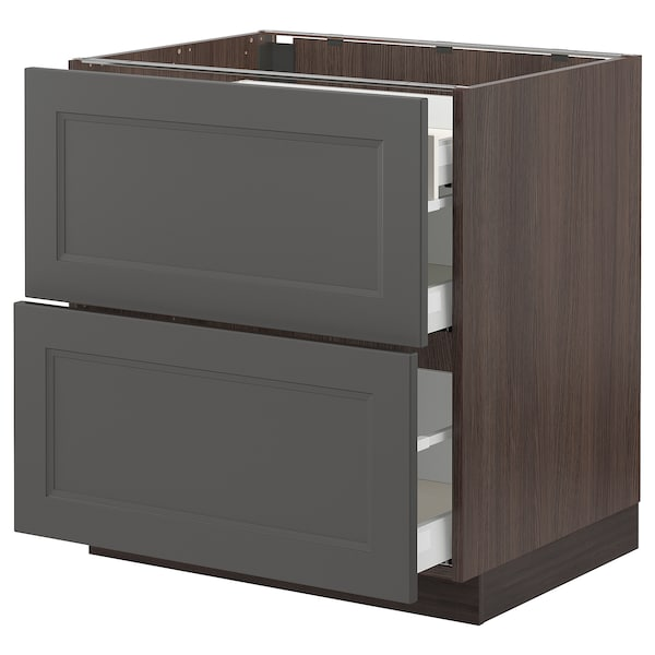 SEKTION / MAXIMERA Base cab with 2 fronts/3 drawers, brown/Axstad dark gray, 30x24x30 ""