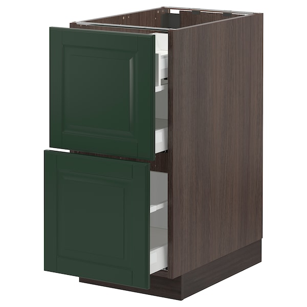 SEKTION / MAXIMERA Base cab with 2 fronts/3 drawers, brown/Bodbyn dark green, 15x24x30 ""