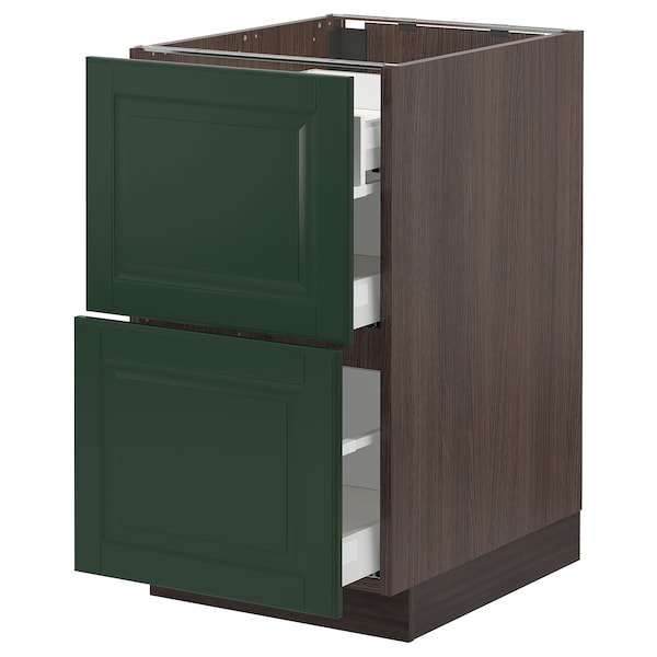 SEKTION / MAXIMERA Base cab with 2 fronts/3 drawers, brown/Bodbyn dark green, 18x24x30 ""