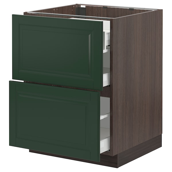 SEKTION / MAXIMERA Base cab with 2 fronts/3 drawers, brown/Bodbyn dark green, 24x24x30 ""