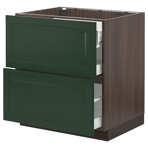 SEKTION / MAXIMERA Base cab with 2 fronts/3 drawers, brown/Bodbyn dark green, 30x24x30 ""