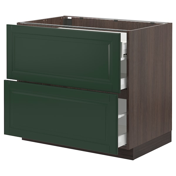 SEKTION / MAXIMERA Base cab with 2 fronts/3 drawers, brown/Bodbyn dark green, 36x24x30 ""