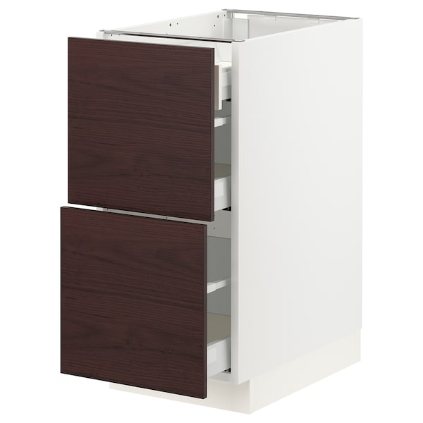 """SEKTION / MAXIMERA Base cab with 2 fronts/3 drawers, white Askersund/dark brown ash effect, 15x24x30 """""""