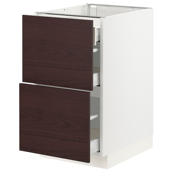 """SEKTION / MAXIMERA Base cab with 2 fronts/3 drawers, white Askersund/dark brown ash effect, 18x24x30 """""""