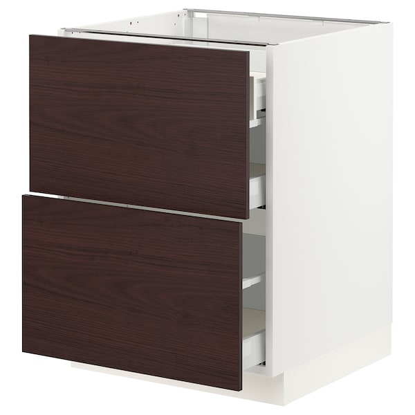 SEKTION / MAXIMERA Base cab with 2 fronts/3 drawers, white Askersund/dark brown ash effect, 24x24x30 ""
