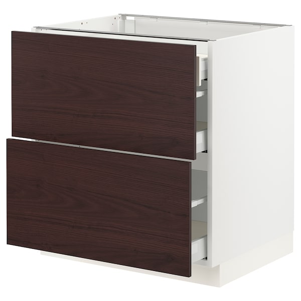 """SEKTION / MAXIMERA Base cab with 2 fronts/3 drawers, white Askersund/dark brown ash effect, 30x24x30 """""""