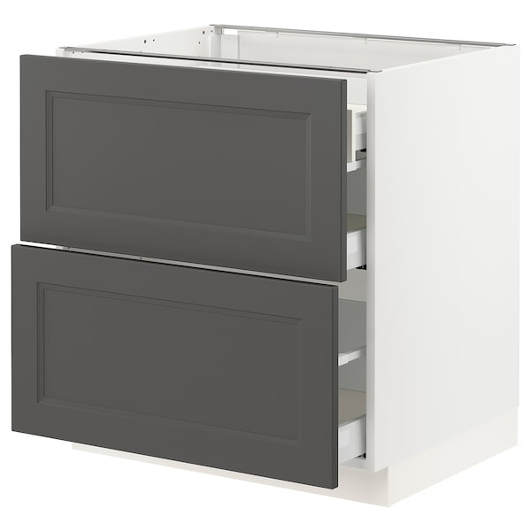 SEKTION / MAXIMERA Base cab with 2 fronts/3 drawers, white/Axstad dark gray, 30x24x30 ""