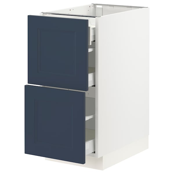 SEKTION / MAXIMERA Base cab with 2 fronts/3 drawers, white Axstad/matte blue, 15x24x30 ""
