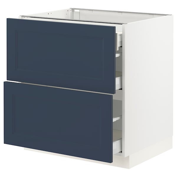 """SEKTION / MAXIMERA Base cab with 2 fronts/3 drawers, white Axstad/matte blue, 30x24x30 """""""