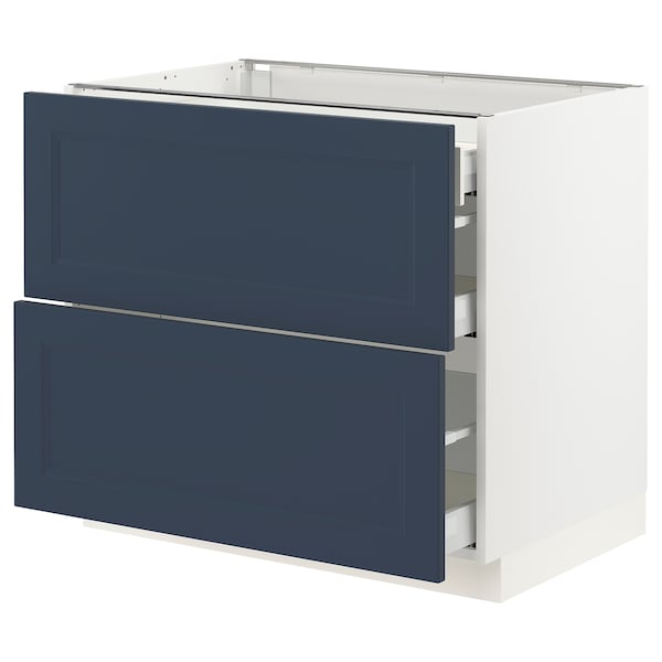 SEKTION / MAXIMERA Base cab with 2 fronts/3 drawers, white Axstad/matte blue, 36x24x30 ""