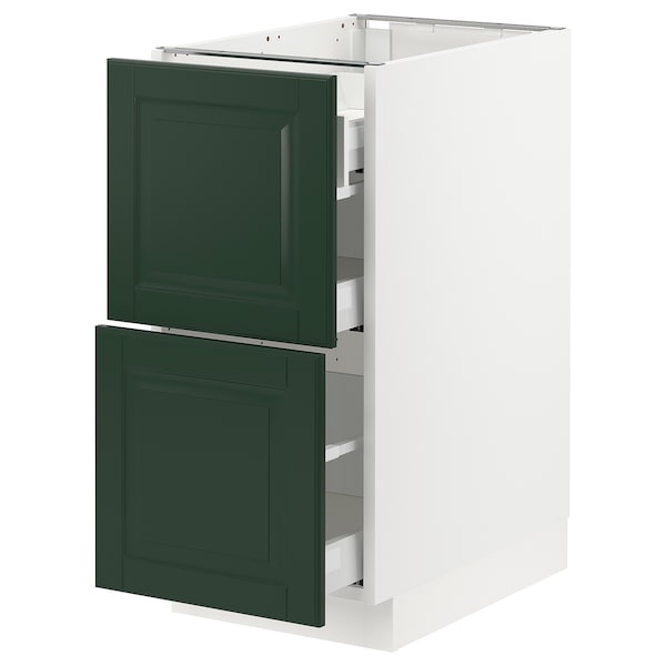 """SEKTION / MAXIMERA Base cab with 2 fronts/3 drawers, white/Bodbyn dark green, 15x24x30 """""""