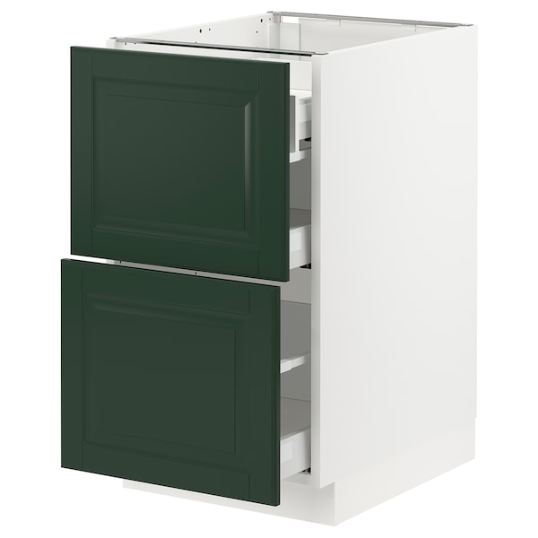 """SEKTION / MAXIMERA Base cab with 2 fronts/3 drawers, white/Bodbyn dark green, 18x24x30 """""""