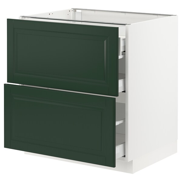 """SEKTION / MAXIMERA Base cab with 2 fronts/3 drawers, white/Bodbyn dark green, 30x24x30 """""""
