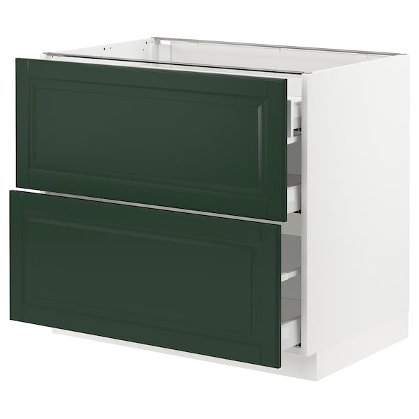 SEKTION / MAXIMERA Base cab with 2 fronts/3 drawers, white/Bodbyn dark green, 36x24x30 ""