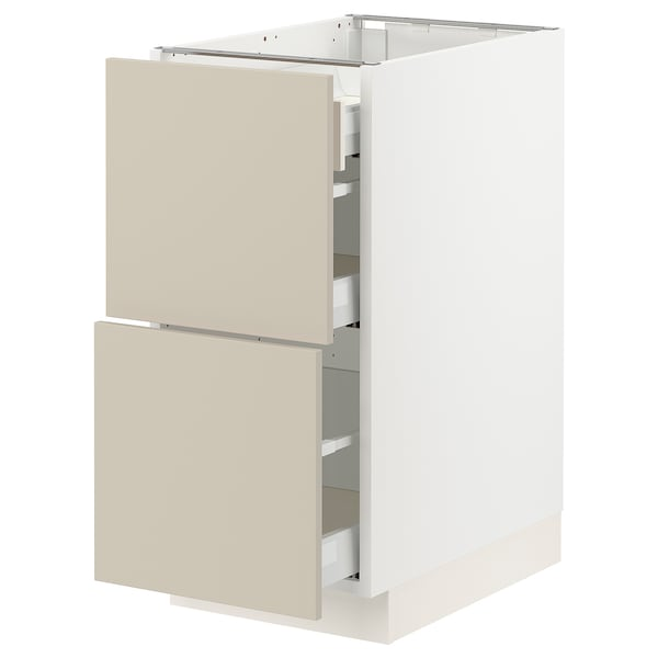 SEKTION / MAXIMERA Base cab with 2 fronts/3 drawers, white/Havstorp beige, 15x24x30 ""
