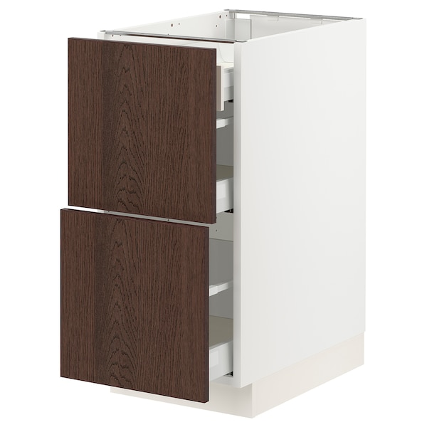 SEKTION / MAXIMERA Base cab with 2 fronts/3 drawers, white/Sinarp brown, 15x24x30 ""