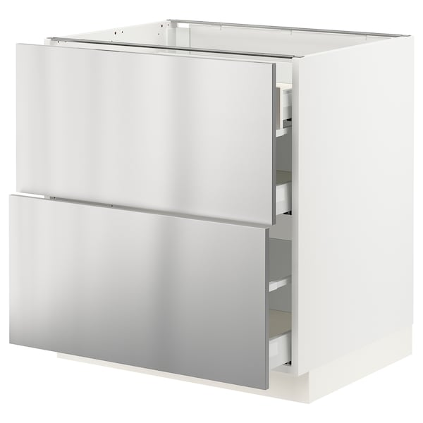 """SEKTION / MAXIMERA Base cab with 2 fronts/3 drawers, white/Vårsta stainless steel, 30x24x30 """""""