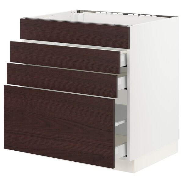 "SEKTION / MAXIMERA Base cabinet f/cooktop w/3 drawers, white Askersund/dark brown ash effect, 30x24x30 """