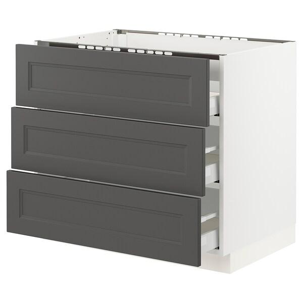 "SEKTION / MAXIMERA Base cabinet f/cooktop w/3drawers, white/Axstad dark gray, 36x24x30 """