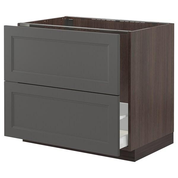 "SEKTION / MAXIMERA Base cabinet f/sink & recycling, brown/Axstad dark gray, 36x24x30 """