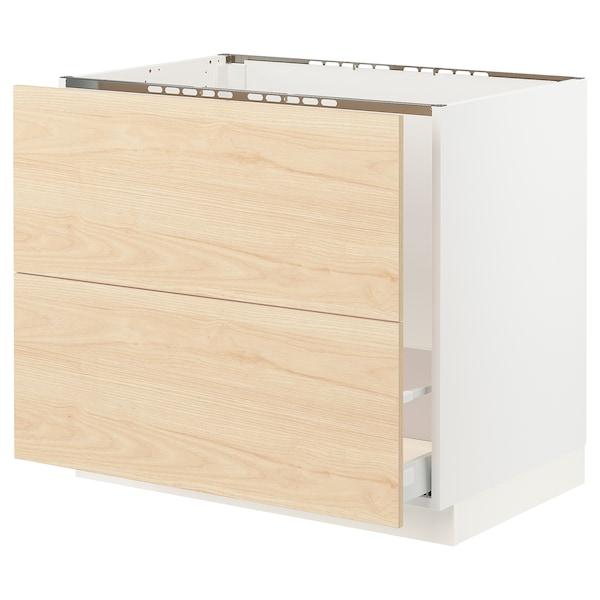 "SEKTION / MAXIMERA Base cabinet f/sink & recycling, white/Askersund light ash effect, 36x24x30 """