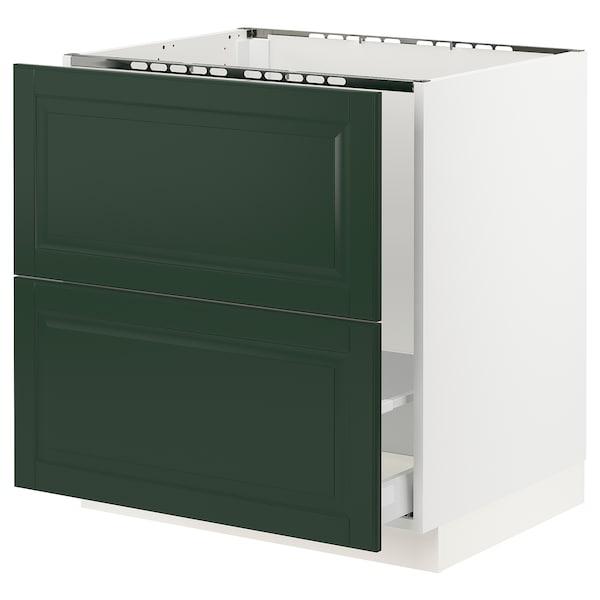 "SEKTION / MAXIMERA Base cabinet f/sink & recycling, white/Bodbyn dark green, 30x24x30 """
