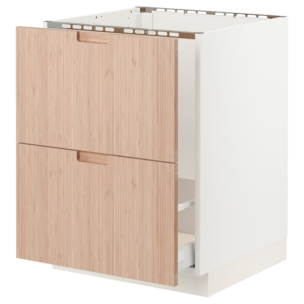 "SEKTION / MAXIMERA Base cabinet f/sink & recycling, white/Fröjered light bamboo, 24x24x30 """