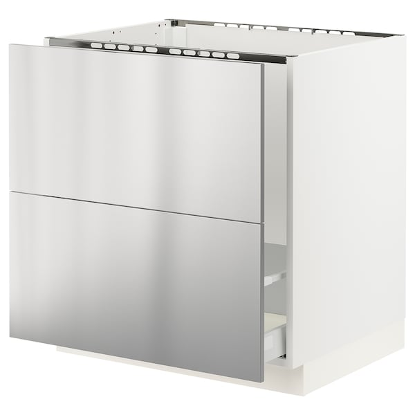 SEKTION / MAXIMERA Base cabinet f/sink & recycling, white/Vårsta stainless steel, 30x24x30 ""