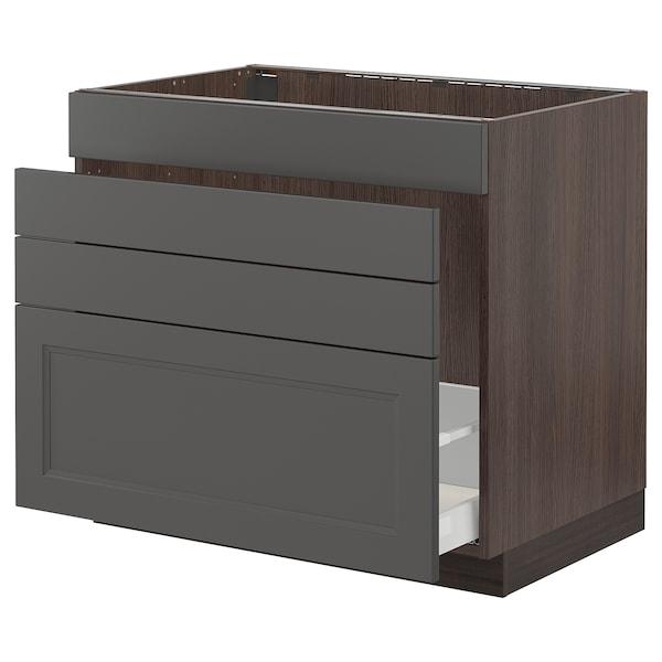 "SEKTION / MAXIMERA Base cabinet f/sink & waste sorting, brown/Axstad dark gray, 36x24x30 """