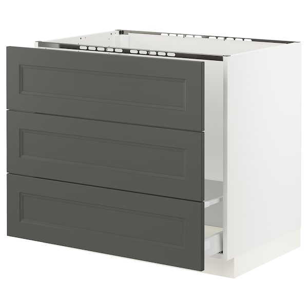 "SEKTION / MAXIMERA Base cabinet f/sink & waste sorting, white/Axstad dark gray, 36x24x30 """