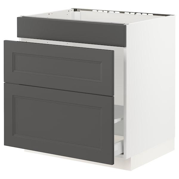 "SEKTION / MAXIMERA Base cabinet f/sink & waste sorting, white/Axstad dark gray, 30x24x30 """