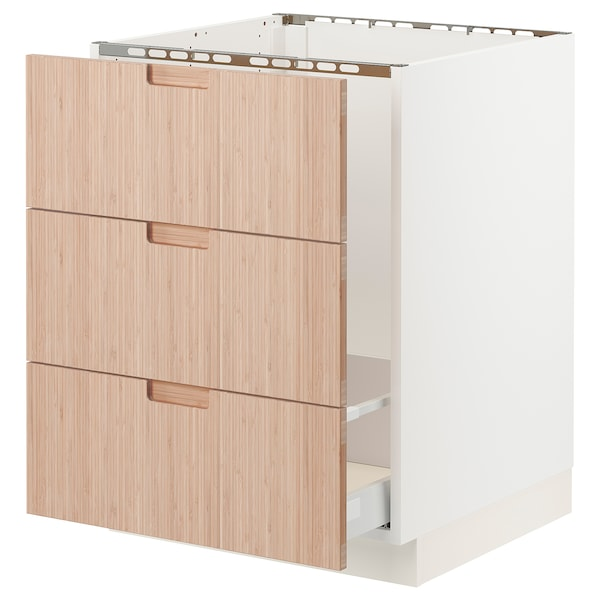 SEKTION / MAXIMERA Base cabinet f/sink & waste sorting, white/Fröjered light bamboo, 24x24x30 ""