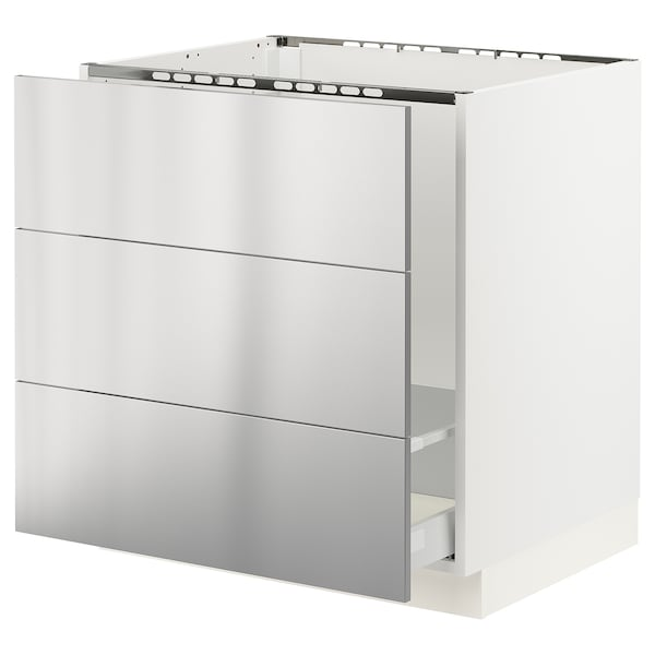 "SEKTION / MAXIMERA Base cabinet f/sink & waste sorting, white/Vårsta stainless steel, 30x24x30 """