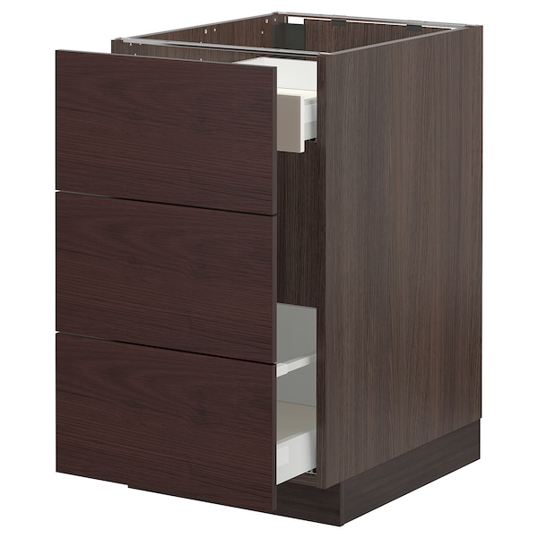 SEKTION / MAXIMERA Base cabinet for recycling, brown Askersund/dark brown ash effect, 18x24x30 ""