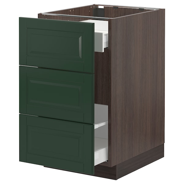 SEKTION / MAXIMERA Base cabinet for recycling, brown/Bodbyn dark green, 18x24x30 ""