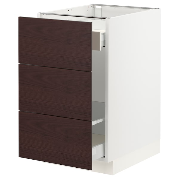 """SEKTION / MAXIMERA Base cabinet for recycling, white Askersund/dark brown ash effect, 18x24x30 """""""