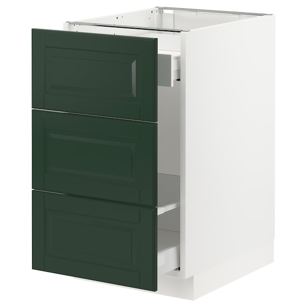 SEKTION / MAXIMERA Base cabinet for recycling, white/Bodbyn dark green, 18x24x30 ""