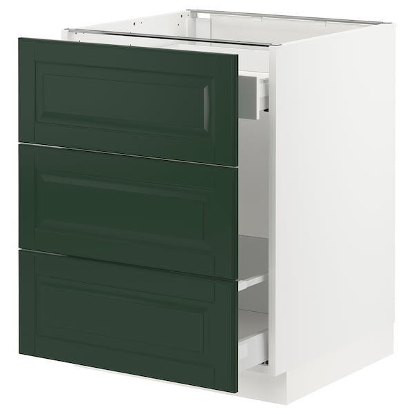 SEKTION / MAXIMERA Base cabinet for recycling, white/Bodbyn dark green, 24x24x30 ""