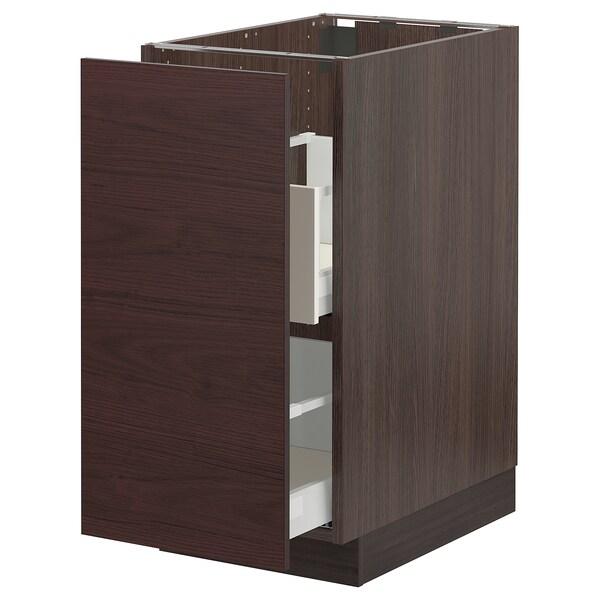 "SEKTION / MAXIMERA Base cabinet for sorting + 1 door, brown Askersund/dark brown ash effect, 15x24x30 """