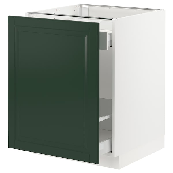 SEKTION / MAXIMERA Base cabinet for sorting + 1 door, white/Bodbyn dark green, 24x24x30 ""