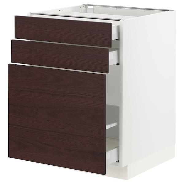 "SEKTION / MAXIMERA Base cabinet/p-out storage/2 drawer, white Askersund/dark brown ash effect, 24x24x30 """